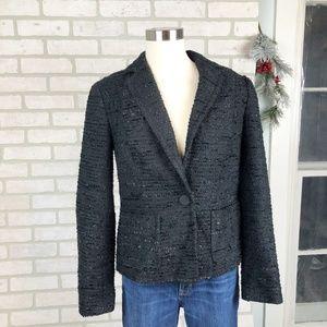 Talbots Single Button Tweed Black Blazer Size 10